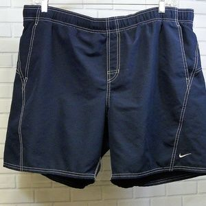 Nike Swim Trunks Shorts Dark Blue White Stitching